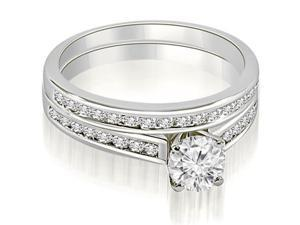 1.42 cttw. Cathedral Channel Set Round Cut Diamond Bridal Set in Platinum
