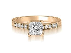 0.90 cttw. Milgrain Princess And Round Diamond Engagement Ring in 14K Rose Gold