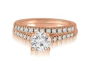 0.80 cttw. Cathedral Round Cut Diamond Bridal Set in 18K Rose Gold (SI2, H-I)