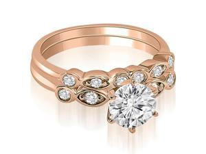 0.82 cttw. Vintage Round Cut Diamond Bridal Set in 18K Rose Gold (VS2, G-H)