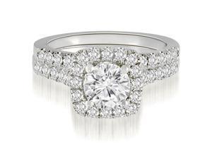 1.52 cttw. Halo Round Cut Diamond Bridal Set in 18K White Gold