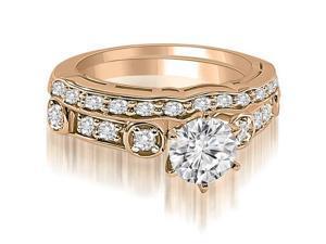 1.25 cttw. Vintage Round Cut Diamond Bridal Set in 14K Rose Gold (VS2, G-H)