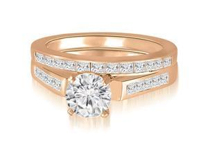 2.10 cttw. Round And Princess Cathedral Diamond Bridal Set in 14K Rose Gold (SI2, H-I)