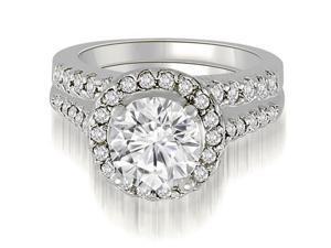 1.17 cttw. Halo Round Cut Diamond Bridal Set in 14K White Gold (SI2, H-I)