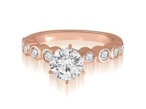 1.20 cttw. Bezel Set Round Cut Diamond Engagement Ring in 18K Rose Gold (VS2, G-H)