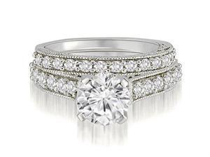 1.25 cttw. Antique Milgrain Round Cut Diamond Bridal Set in Platinum (VS2, G-H)