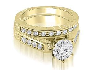 1.55 cttw. Antique Cathedral Round Cut Diamond Bridal Set in 18K Yellow Gold (SI2, H-I)