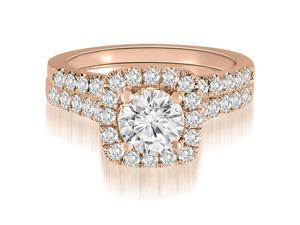 1.52 cttw. Halo Round Cut Diamond Bridal Set in 18K Rose Gold
