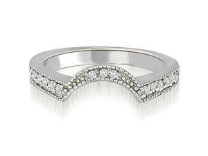 0.25 cttw. Curved Milgrain Antique Round Diamond Wedding Ring in 18K White Gold