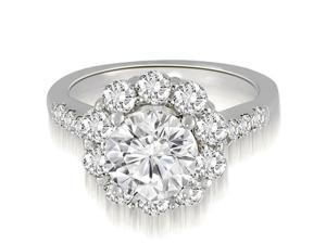1.50 cttw. Halo Round Cut Diamond Engagement Ring in 14K White Gold