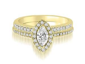 0.86 cttw. Halo Marquise And Round Cut Diamond Bridal Set in 18K Yellow Gold (VS2, G-H)