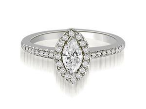 1.30 cttw. Halo Marquise And Round Cut Diamond Engagement Ring in 14K White Gold (SI2, H-I)