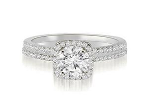 1.30 cttw. Petite Halo Round Cut Diamond Bridal Set in Platinum (SI2, H-I)