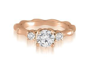 1.00 cttw. Antique Three-Stone Round Diamond Engagement Ring in 18K Rose Gold