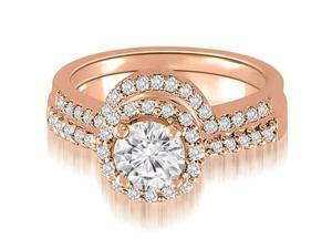 1.20 cttw. Round Cut Diamond Halo Bridal Set in 18K Rose Gold