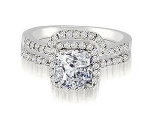 1.19 cttw. Cushion And Round Shape Halo Diamond Bridal Set in Platinum (VS2, G-H)