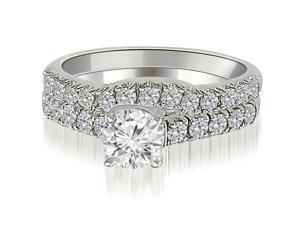 1.25 cttw. Trellis Round Cut Diamond Bridal Set in 14K White Gold (SI2, H-I)