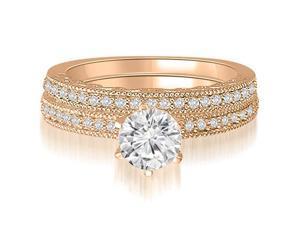0.70 cttw. Antique Milgrain Round Diamond Bridal Set in 14K Rose Gold