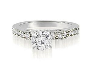 1.15 cttw. Antique Milgrain Round Cut Diamond Engagement Ring in Platinum (VS2, G-H)
