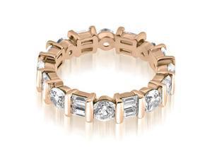2.25 cttw. Modern Bar Set Round Baguette Diamond Eternity Ring in 14K Rose Gold