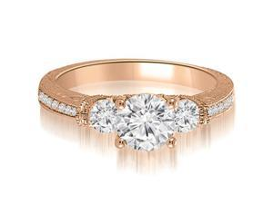 0.76 cttw. Antique Three-Stone Round Diamond Engagement Ring in 18K Rose Gold
