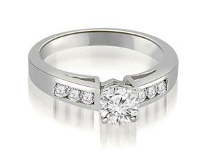 0.55 cttw. Channel Set Round Cut Diamond Engagement Ring in 14K White Gold