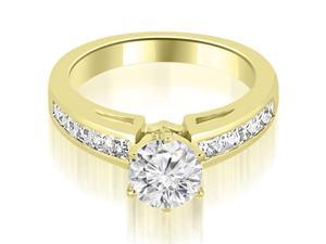 1.05 cttw. Channel Set Princess Cut Diamond Engagement Ring in 18K Yellow Gold