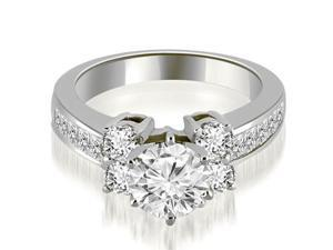 1.10 cttw. Channel Round Cut Diamond Engagement Ring in 14K White Gold
