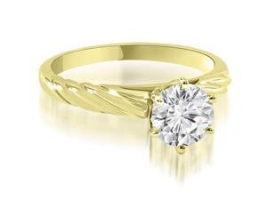 0.50 cttw. Twist Style 6-Prong Solitaire Diamond Engagement Ring in 14K Yellow Gold