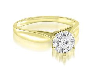 1.00 cttw. Cathedral Solitaire Round Cut Diamond Engagement Ring in 14K Yellow Gold (SI2, H-I)