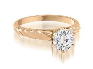 0.50 cttw. Twist Style 6-Prong Solitaire Diamond Engagement Ring in 14K Rose Gold