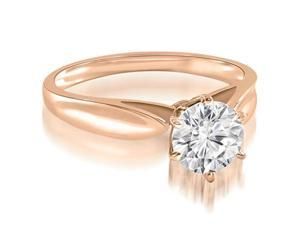 1.00 cttw. Cathedral Solitaire Round Cut Diamond Engagement Ring in 18K Rose Gold (SI2, H-I)