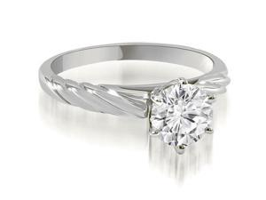 0.50 cttw. Twist Style 6-Prong Solitaire Diamond Engagement Ring in 14K White Gold
