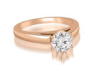 0.75 cttw. Cathedral Solitaire Round Cut Diamond Engagement Ring in 18K Rose Gold