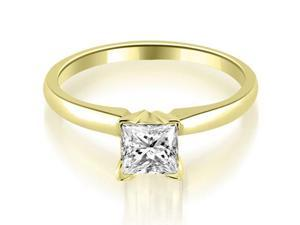 0.35 cttw. Classic Princess Cut Solitaire Diamond Ring in 18K Yellow Gold (VS2, G-H)