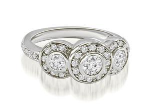 1.07 cttw. Halo Three Stone Round Cut Diamond Engagement Ring in 18K White Gold (VS2, G-H)
