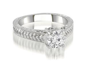 0.75 cttw. Antique Style Solitaire Diamond Engagement Ring in 14K White Gold