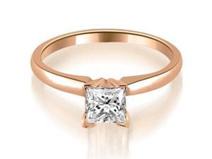 0.45 cttw. Classic Princess Cut Solitaire Diamond Ring in 18K Rose Gold (SI2, H-I)