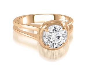 0.50 cttw. Split Shank Halo Round Diamond Engagement Ring in 14K Rose Gold