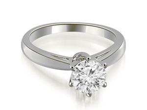 0.50 cttw. Solitaire six Prong Diamond Engagement Ring in 14K White Gold