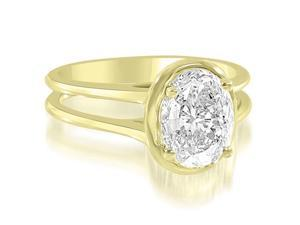 0.75 cttw. Split Shank Halo Oval Cut Diamond Engagement Ring in 18K Yellow Gold (VS2, G-H)