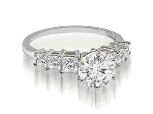 1.75 cttw. Round and Princess cut Diamond Engagement Ring in 18K White Gold (SI2, H-I)
