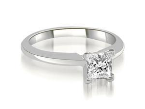 0.50 cttw. V-Prong Princess Diamond Solitaire Engagement Ring in 14K White Gold (VS2, G-H)