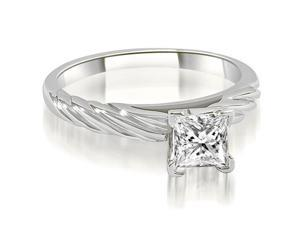 0.50 cttw. Cathedral Princess Solitaire Diamond Engagement Ring in Platinum