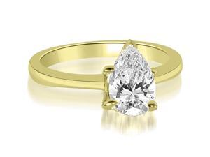 0.75 cttw. Solitaire Pear Cut Diamond Engagement Ring in 14K Yellow Gold (SI2, H-I)
