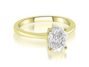 0.75 cttw. Solitaire Oval Cut Diamond Engagement Ring in 18K Yellow Gold (VS2, G-H)