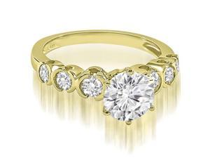 1.60 cttw. Round cut Bezel set Diamond Engagement Ring in 14K Yellow Gold (VS2, G-H)