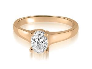 0.75 cttw. Classic Lucida Oval Cut Diamond Engagement Ring in 14K Rose Gold