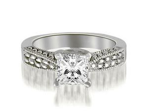 1.00 cttw. Antique Solitaire Princess Diamond Engagement Ring in 14K White Gold (VS2, G-H)