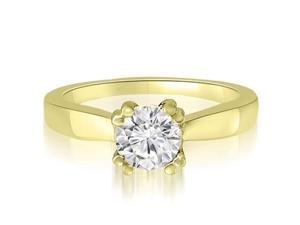 1.00 cttw. Dual Prong Round Solitaire Diamond Engagement Ring in 14K Yellow Gold